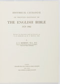 Books:Books about Books, [Books About Books]. A. S. Herbert. Historical Catalogue of Printed Editions of the English Bible 1525-1961. Lon...