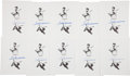 Autographs:Others, Ted Williams Signed Prints Lot of 10 from The Stan MusialCollection....