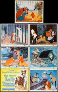 "Movie Posters:Animation, Lady and the Tramp (Buena Vista, 1955). Title Lobby Card & Lobby Cards (6) (11"" X 14""). Animation.. ... (Total: 7 Items)"