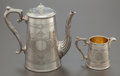 Silver Holloware, British:Holloware, A MAPPIN & WEBB VICTORIAN SILVER-PLATED COFFEE POT AND CREAMER.Mappin & Webb, Ltd., Sheffield, England, circa 1900. Marks: ...(Total: 2 Items)