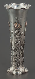 Silver Holloware, American:Vases, A SHIEBLER SILVER AND 14K GOLD VASE . George W. Shiebler & Co., New York, New York, circa 1900. Marks: STERLING/&14K, 824 ...
