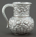 Silver Holloware, American:Pitchers, A GORHAM SILVER REPOUSSÉ WATER PITCHER. Gorham Manufacturing Co.,Providence, Rhode Island, 1889. Marks: (lion-anchor-G), ...
