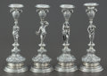Silver Holloware, Continental:Holloware, A SET OF FOUR WOLF & KNELL HANAU SILVER FIGURAL CANDLESTICKS .Wolf & Knell, Hanau, Germany, circa 1900. Marks:(G-crowned),... (Total: 4 Items)