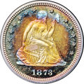 Proof Seated Quarters, 1873 25C No Arrows PR68 ★ Cameo NGC. CAC....