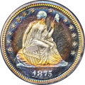 Proof Seated Quarters, 1875 25C PR67+ ★ Cameo NGC. CAC....