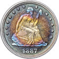 Proof Seated Quarters, 1887 25C PR68+ ★ Cameo NGC. CAC....