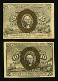Fractional Currency:Second Issue, Fr. 1244 10¢ Second Issue Fine. Fr. 1283 25¢ Second Issue Very Fine.. ... (Total: 2 notes)