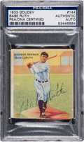 Autographs:Sports Cards, 1933 Goudey Babe Ruth #144, Signed, PSA/DNA Authentic. ...