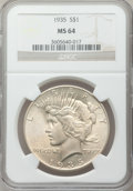 Peace Dollars: , 1935 $1 MS64 NGC. NGC Census: (2012/800). PCGS Population(2223/944). Mintage: 1,576,000. Numismedia Wsl. Price forproblem...
