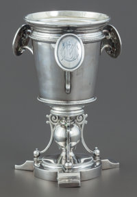A WILLIAM GALE JR. SILVER AND SILVER GILT MEDALLION GOBLET William Gale, New York, New York, circa 1866 Marks: