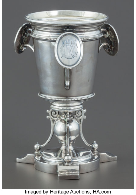 A WILLIAM GALE JR. SILVER AND SILVER GILT MEDALLION GOBLET William Gale, New York, New York, circa 1866Marks: WM. GALE...