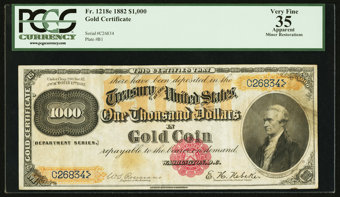 Featured item image of Fr. 1218e $1000 1882 Gold Certificate PCGS Apparent Very Fine 35.  ...