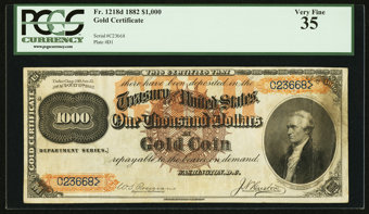 Featured item image of Fr. 1218d $1000 1882 Gold Certificate PCGS Very Fine 35.  ...
