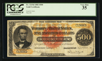 Featured item image of Fr. 1215d $500 1882 Gold Certificate PCGS Very Fine 35.  ...