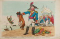 Books:Prints & Leaves, [Color-Plate]. [Napoleon]. Thomas Rowlandson. Bucher the BraveExtracting the Groan of Abdication from the Corsican Bloo...