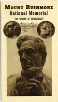 Western Expansion:Cowboy, AUTOGRAPH GUTZON BORLUM MOUNT RUSHMORE BOOKLET 1940 - Borglum, Gutzon (1867-1941) American sculptor. Won renown for his work... (Total: 1 Item)