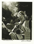 "Music Memorabilia:Autographs and Signed Items, Dexter Gordon Portrait Signed by Photographer Herman Leonard. Awonderful b&w 11"" x 14"" portrait of Jazz saxophonist Dexter ...(Total: 1 Item)"