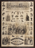 """Antiques:Decorative Americana, FABULOUS """"HARPERS BAZAR"""" BROADSIDE - Advertising for Subscriptions;1871; small holes and crease at the folds; sharp black p... (Total:1 Item)"""