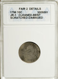 Early Dimes, 1796 10C --Cleaned, Bent, Scratched, Damaged--ANACS. Fair 2Details....