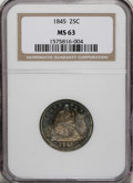 Seated Quarters, 1845 25C MS63 NGC....