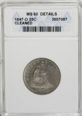 Seated Quarters, 1847-O 25C --Cleaned--ANACS. MS60 Details. ...