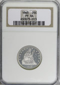 Proof Seated Quarters, 1865 25C PR64 NGC....