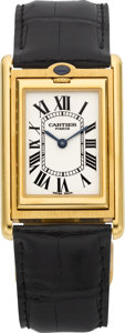 Timepieces:Wristwatch, Cartier Gold Tank Basculante Mécanique Reversible Wristwatch. ...
