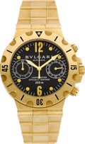 Timepieces:Wristwatch, Bulgari 18k Gold Ref. SC 38 G Automatic Chronograph. ...