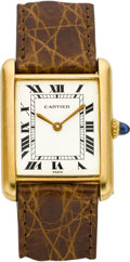 Timepieces:Wristwatch, Cartier 18k Gold Tank Wristwatch. ...