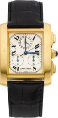Timepieces:Wristwatch, Cartier Ref. 1830 Gold Tank Francaise Chronograph. ...