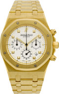 Timepieces:Wristwatch, Audemars Piguet Gold Royal Oak Chronograph. ...