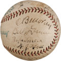Baseball Collectibles:Balls, 1929 World Series Game Used Baseball Signed by Umpires including Klem....