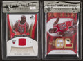 Basketball Cards:Singles (1980-Now), 2006 and 2007 Upper Deck Michael Jordan Jersey Swatch Card Pair (2). ...