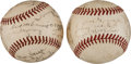 Baseball Collectibles:Balls, 1939-41 Cincinnati Reds Team Signed Baseballs Lot of 2. ...