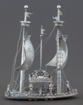 Silver Smalls:Other , A GERMAN SILVER SHIP-FORM TABLE ORNAMENT . Probably Hanau, Germany,circa 1890. Unmarked. 8-3/4 x 6-3/4 x 2-3/4 inches (22.2...
