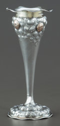 Silver Holloware, American:Vases, A SHIEBLER SILVER AND 14K GOLD MEDALLION VASE . George W. Shiebler& Co., New York, New York, circa 1900. Marks: (winged S),...