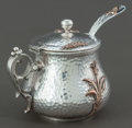 Silver Holloware, American:Mixed Metal, A DOMINICK & HAFF SILVER AND MIXED METAL MUSTARD POT AND LADLE. Dominick & Haff, New York, New York, 1879. Marks: (D & Hin... (Total: 2 Items)
