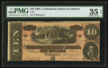 Confederate Notes:1864 Issues, Black and White Signature Combination T68 $10 1864 PF-15 Cr. 545.. ...