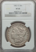 Morgan Dollars: , 1882-CC $1 VF35 NGC. NGC Census: (8/14278). PCGS Population (20/27498). Mintage: 1,133,000. Numismedia Wsl. Price for probl...