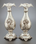Silver Holloware, American:Vases, A PAIR OF TIFFANY & CO. SILVER FIGURAL VASES. Tiffany &Co., New York, New York, circa 1895-1896. Marks: TIFFANY &CO., ST...