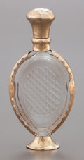 Silver Smalls:Other , A CONTINENTAL GLASS AND 14K GOLD MOUNTED PERFUME BOTTLE IN ORIGINALCASE . Circa 1875. Marks: (leaf). 3-3/4 inches high (9.5...