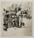 Books:Original Art, Leonard Raven Hill. ORIGINAL DRAWING. At the Cafe Royal. [London: 1890]. Original ink and pen drawing, with some...