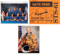Autographs:Celebrities, Space Shuttle Endeavour (STS-61) Crew-Signed Color Photo andGate Pass, with Additional Signed Photo.... (Total: 3 Items)