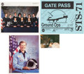 Autographs:Celebrities, Space Shuttle Atlantis (STS-71) Crew-Signed Color Photo and Gate Pass, with Additional Signed Photos.... (Total: 4 Items)