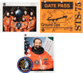 Autographs:Celebrities, Space Shuttle Columbia (STS-75) Crew-Signed Color Photo andGate Pass, with Additional Signed Photo and Memorabili... (Total: 4Items)