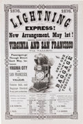 "Transportation:Railroad, 1876 ""Lightning Express"" Railroad Broadside for the Virginia andTruckee Railroad, Advertising New Service to the Booming Mini..."
