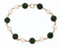 Estate Jewelry:Bracelets, Nephrite Jade, Cultured Pearl, Gold Bracelet . ...