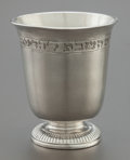 Silver Holloware, Continental, A HANAU SILVER JUDAICA FOOTED CUP. Hanau, Germany, circa 1900.Marks: (e crowned), (Q crowned), (FF crowned), (four-legged b...