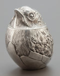Silver Smalls, AN EDWARD VII SILVER FIGURAL BIRD-FORM BOX WITH RUSSIAN IMPORTMARKS. Chester, England, circa 1907-1908. Marks: (lion passan...