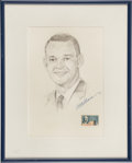 Autographs:Celebrities, Clifton Williams Signed Pencil Drawing, Matted and Framed....